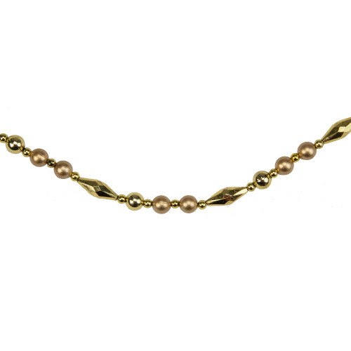 9' Shiny and Matte Gold Beaded Christmas Garland - IMAGE 1
