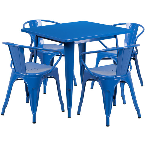Set of 5 Blue Square Metal Indoor-Outdoor Table with Arm Chair 31.5'' - IMAGE 1