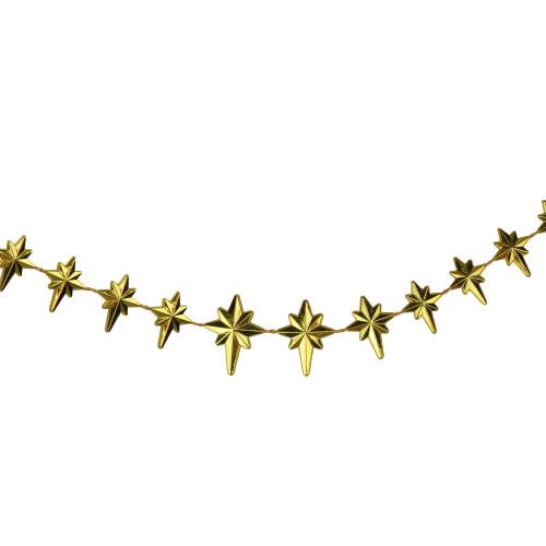 "9' x 1"" Shiny Gold Star of Bethlehem Beaded Artificial Christmas Garland - Unlit - IMAGE 1"