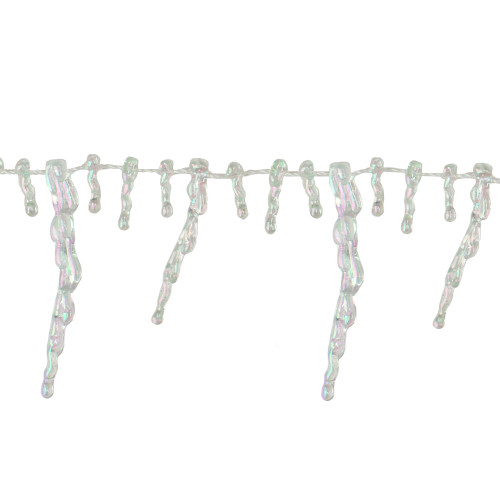 """8' x 2.5"""" Clear Iridescent Icicle Beaded Artificial Christmas Garland - Unlit - IMAGE 1"""