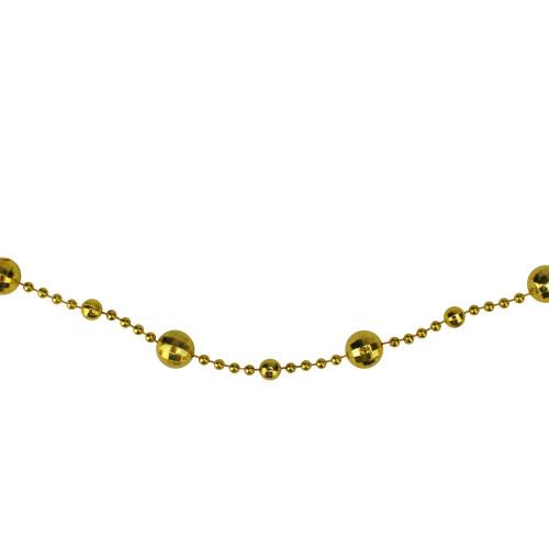 "15' x 0.5"" Shiny Gold Mirrored Disco Ball Beaded Artificial Christmas Garland - IMAGE 1"