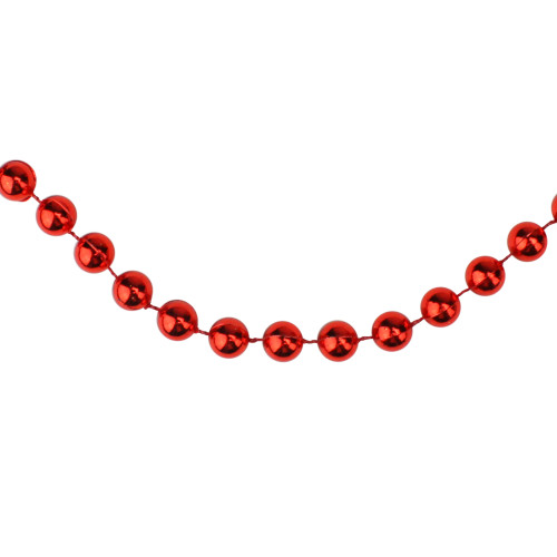 33' Shiny Red Round Beaded Christmas Garland - IMAGE 1