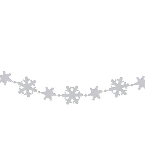 8' White Snowflake Beaded Christmas Garland - IMAGE 1