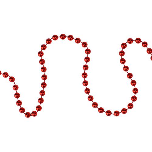 "15' x 0.25"" Shiny Crimson Red Beaded Christmas Garland - Unlit - IMAGE 1"