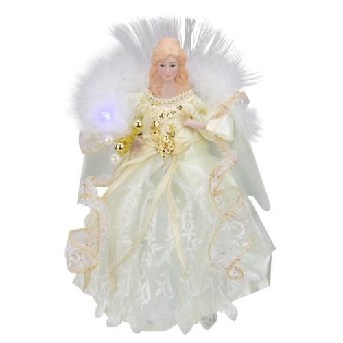 "12"" Gold and White LED Lighted Fiber Optic Angel Christmas Tree Topper - IMAGE 1"