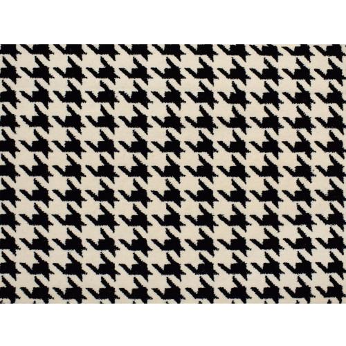 8' x 8' Houndstooth Black and Ivory Square Polypropylene Area Rug - IMAGE 1