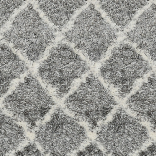 8' Superior Gray and Ivory Moroccan Pattern Round Polypropylene Area Rug - IMAGE 1