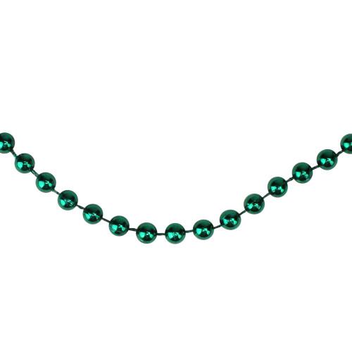 "15' x 0.25"" Shiny Metallic Aqua Green Faceted Beaded Artificial Christmas Garland - Unlit - IMAGE 1"