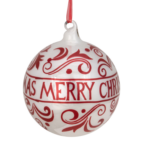"""Shiny Red and White """"MERRY CHRISTMAS"""" Glass Ball Ornament 4.5"""" (115mm) - IMAGE 1"""