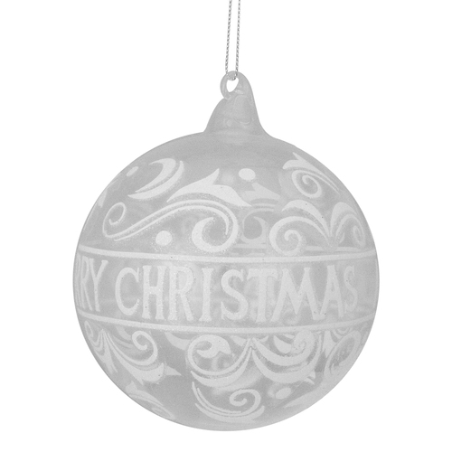 """Clear and White """"Merry Christmas"""" Glass Christmas Ball Ornament 4.5"""" (114mm) - IMAGE 1"""