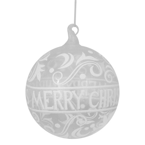 """Clear and White Glass Merry Christmas Ball Ornament 6"""" (150mm) - IMAGE 1"""
