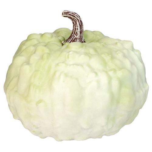 "7.5"" White Textured Pumpkin Fall Halloween Statue - IMAGE 1"