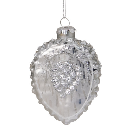 "4"" Silver Glittered Half Pine Cone Glass Christmas Ornament - IMAGE 1"