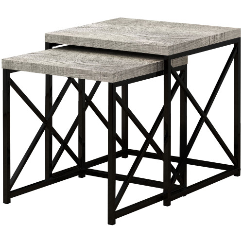"""Set of 2 Black and Gray Contemporary Square Nesting Tables 21.25"""" - IMAGE 1"""