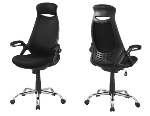 """45"""" Black and Silver Contemporary Upholstered Office Chair - IMAGE 1"""
