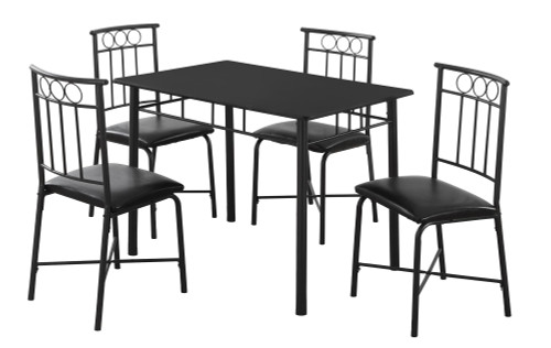 """5-Piece Black Contemporary Rectangular Dining Table with Chair 39"""" - IMAGE 1"""