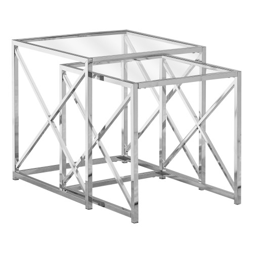 """Set of 2 Clear Contemporary Square Nesting Tables 20"""" - IMAGE 1"""
