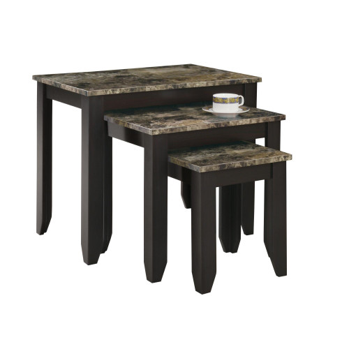 """Set of 3 Cappuccino Brown Contemporary Rectangular Nesting Tables 13.75"""" - IMAGE 1"""