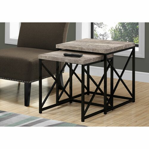 """Set of 2 Black and Taupe Brown Contemporary Square Nesting Tables 21.25"""" - IMAGE 1"""