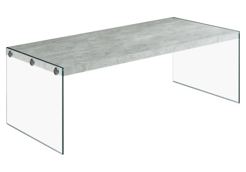 """44"""" Cement Gray Rectangular Coffee Table with Tempered Glass - IMAGE 1"""