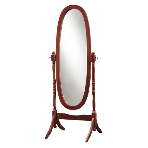 """59"""" Walnut Brown and Clear Contemporary Wooden Framed Oval Floor Mirror - IMAGE 1"""