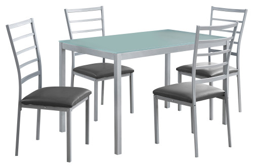 """5-Piece Gray and Silver Contemporary Dining Table with Chairs 48"""" - IMAGE 1"""