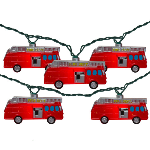 10-Count Red Fire Department Truck Christmas Lights, 9ft Green Wire - IMAGE 1