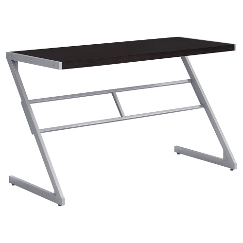 """48"""" Umber Brown and Silver Contemporary Rectangular Computer Desk - IMAGE 1"""