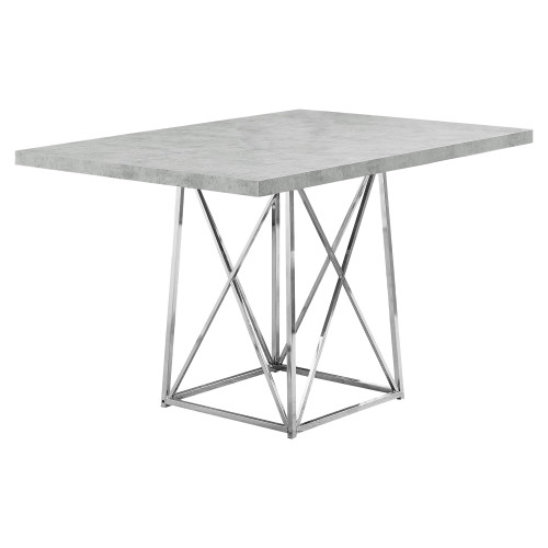 """48"""" Gray and Silver Contemporary Rectangular Dining Table - IMAGE 1"""