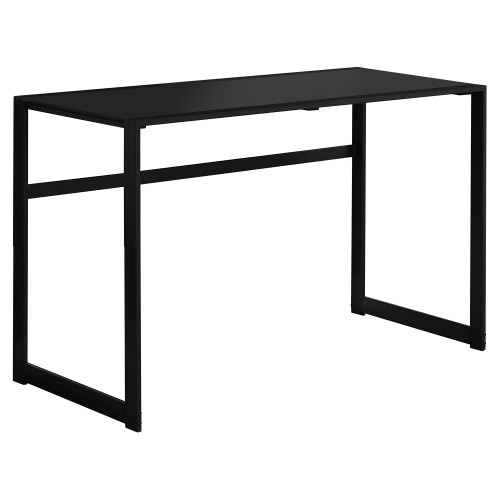 "48"" Black Contemporary Rectangular Computer Desk with Tempered Glass - IMAGE 1"