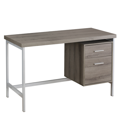 """47.25"""" Taupe Gray and Silver Contemporary Rectangular Computer Desk - IMAGE 1"""