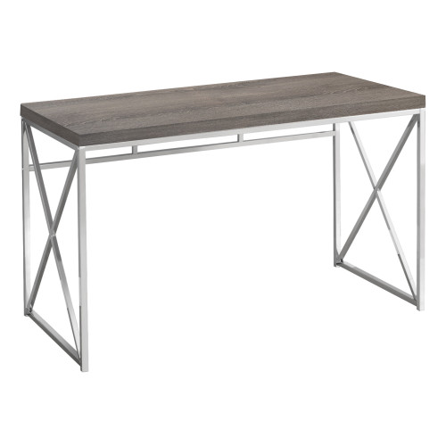 """47.25"""" Taupe Gray and Silver Contemporary Computer Desk - IMAGE 1"""