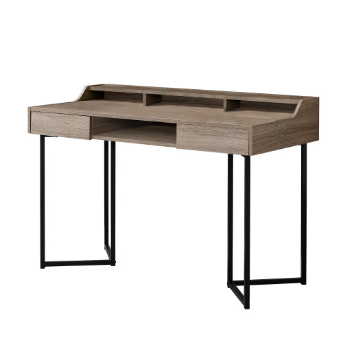 """48"""" Taupe Brown and Silver Contemporary Computer Desk - IMAGE 1"""