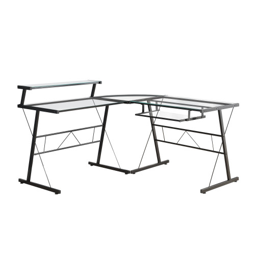 "57"" Black Contemporary L-Shaped Computer Desk with Tempered Glass - IMAGE 1"