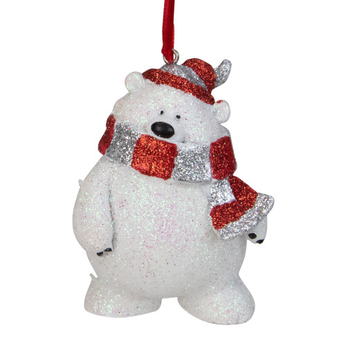 """3.5"""" White and Silver Glittered Polar Bear Christmas Ornament - IMAGE 1"""