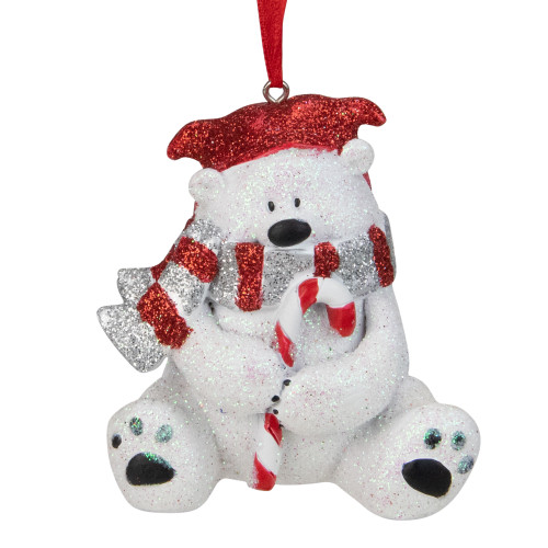 """3.5"""" Red and White Glitter Polar Bear with a Candy Cane Christmas Ornament - IMAGE 1"""
