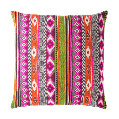 """22"""" Purple and Pink Contemporary Square Throw Pillow - IMAGE 1"""
