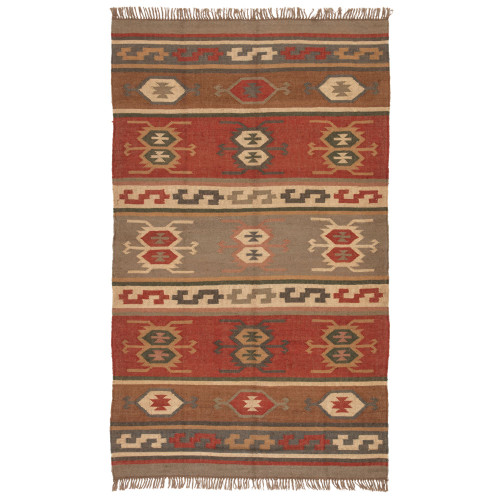 8.8' x 11.75' Red and Brown Traditional Flat Weave Rectangular Area Throw Rug - IMAGE 1