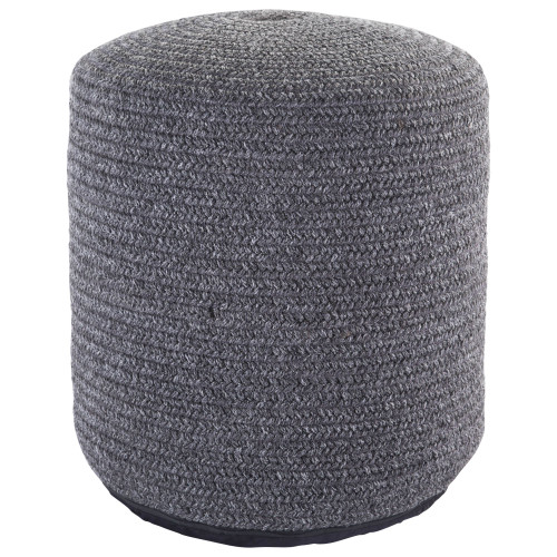 """20"""" Gray Contemporary Woven Outdoor Cylindrical Pouf Ottoman - IMAGE 1"""