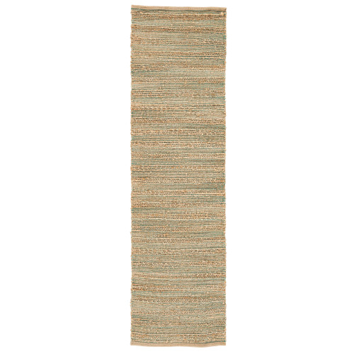 2.5' x 9' Brown and Green Rectangular Area Rug Runner - IMAGE 1