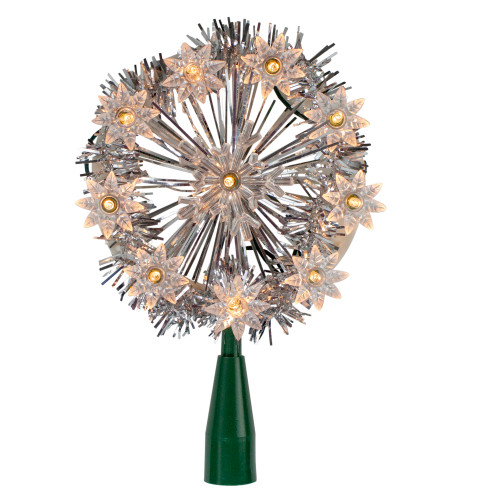 """10"""" Lighted Silver Snowflake Christmas Tree Topper - Clear Lights - IMAGE 1"""