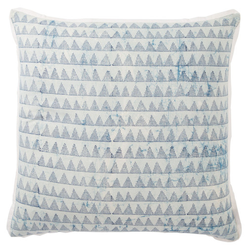 "22"" Blue and White Geometric Vintage Square Throw Pillow - Down Filler - IMAGE 1"