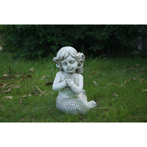 12 75 White Gray Mermaid Kneeling By Holding Shell Garden Statue Christmas Central