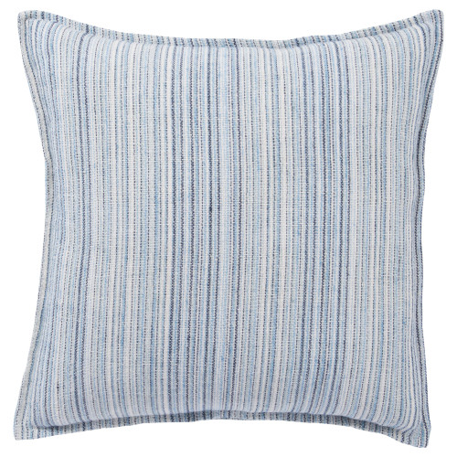"22"" Blue and White Striped Square Throw Pillow with Zipper Closure - IMAGE 1"