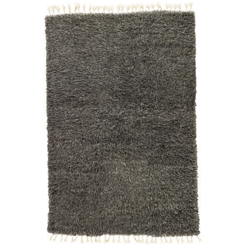 9' x 13' Black and Gray Luxury Hand Knotted Rectangular Area Throw Rug - IMAGE 1