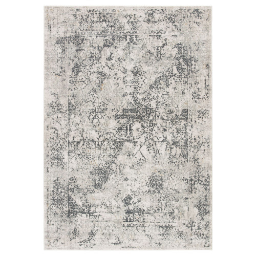 7.5'x 9.5' Gray and White Transitional Rectangular Area Throw Rug - IMAGE 1