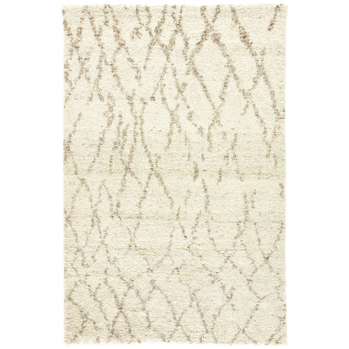 8' x 10' Cream White and Brown Hand Knotted Rectangular Area Throw Rug - IMAGE 1