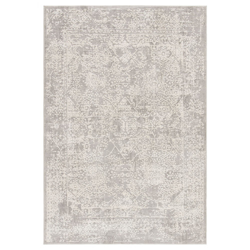 7.5' x 9.5' Gray and White Transitional Rectangular Area Throw Rug - IMAGE 1
