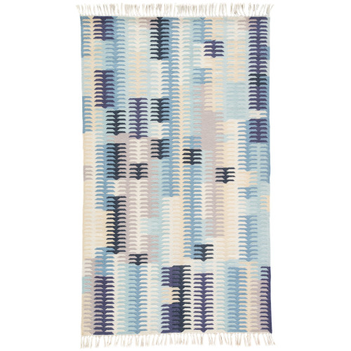 7.8' x 9.8' Blue and Beige Carver Outdoor Area Throw Rug - IMAGE 1