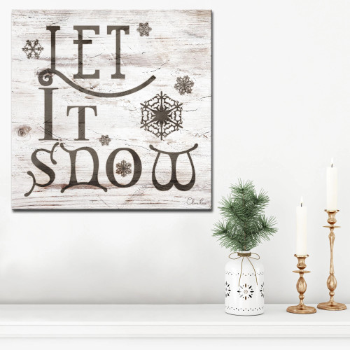 """Brown and Gray """"Let It Snow"""" Christmas Wrapped Square Wall Art Decor 12"""" x 12"""" - IMAGE 1"""